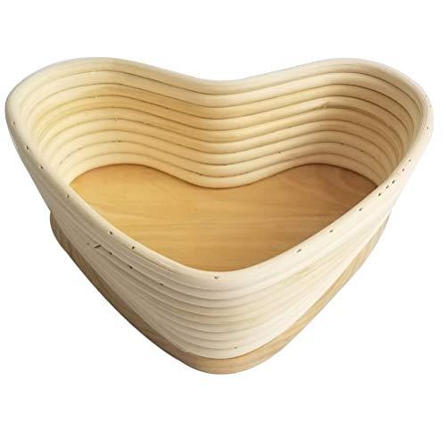 Hemoton Proofing Broodmand Bakken Deeg Broodkom Broodzak Bakken Bakvormen Voor Knapperig Stokbrood Baguette (Hart Kaki 18X15. 5Cm)