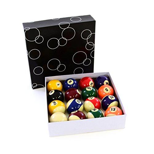 Nipach Billardkugeln 57,2 mm Set mit 16 Kugeln inkl. Anstoßkugel für Billard Snooker Pool Standard hochglanzpoliert