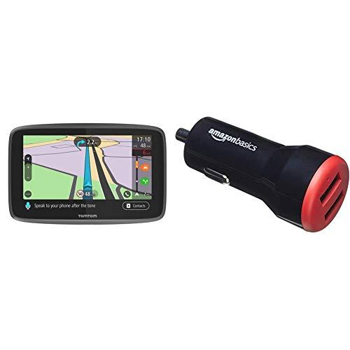 TomTom GO Professional 6250, Navegación Profesional para Vehículos Grandes + Amazon Basics - Cargador de Coche, de 4,8 A / 24 W, 2 Puertos USB, para Dispositivos Apple y Android, Negro/Rojo
