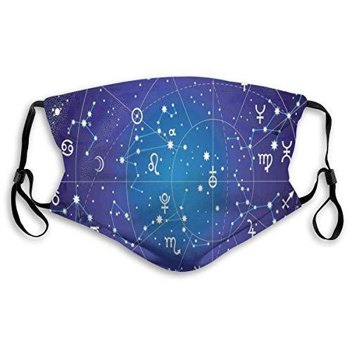 Ginsang Sternbild und Planeten Ursprüngliche Koordinaten des Himmelskörpermusters, gedruckte Gesichtsdekorationen für Unisex