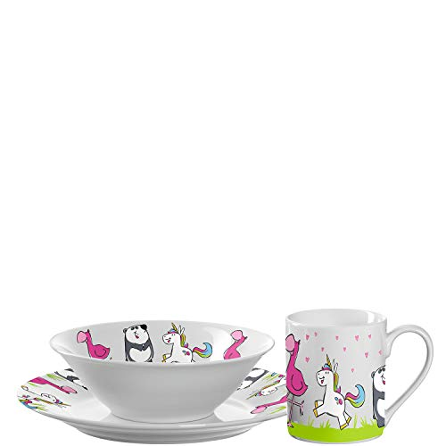 Leonardo Bambini Kinder Geschirr-Set Porzellan, 3-teilig, spülmaschinengeeignetes Kinder-Geschirr mit Tier-Motiven, Panda, Einhorn, Flamingo, 018642