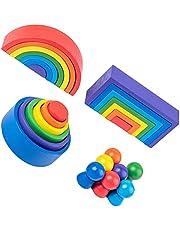 Toddmomy 1 Set Houten Rainbow Stacker Speelgoed Kleurrijke Grote Nestelen Blokken Puzzels Stapelen Montessori Leren Educatief Speelgoed Voor Baby Peuters