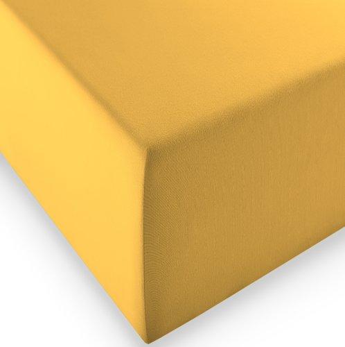 sleepling Komfort Jersey-Elastic Stretch Spannbettuch Spannbettlaken für Matratzen bis 30 cm Höhe (215 gr. / m²) mit 3% Elastan 180 x 200-200 x 220 cm, gelb