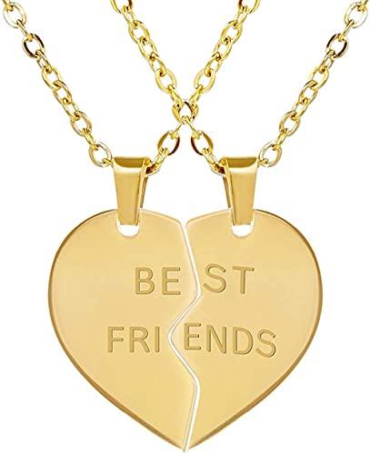 ADIS Best Friends Collar 2 piezas de corazón dividido colgantes y cadenas de amistad