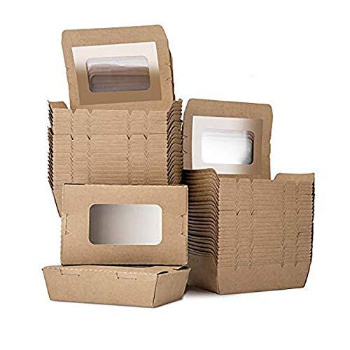 LOMOFI Lebensmittelbox mit Sichtfenster 17oz Einwegschachteln Kraftkarton Snackboxen,50 Stück Auslaufsicher Anti-Fett Take Away Box,Kartonschachtel für Verschiedene Lebensmittel, Salate, Nudeln