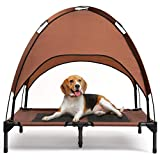 Hollypet Elevated Pet Cot with Canopy, Dog Camping Tents Cat Travel Bed Backyard Beach Dog House Folding Outdoor Cat Bed Pad for Travel, Brown