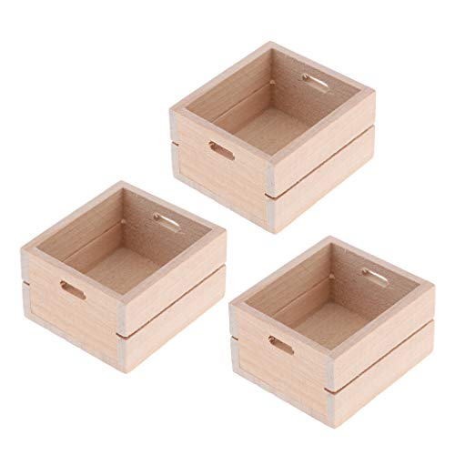 Harilla 3 Piezas 1:12 Casa de Muñecas Caja de Almacenamiento de Madera en Miniatura Accesorios de Juguetes de Cocina