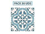 Oedim Pack 30 Vinilos Adhesivos para Suelo Positano Azul | Vinilo Ecológico | 40 x 40 cm | Autoadhesivos para Decorar o Renovar Suelo Mate, Suelos y Paredes