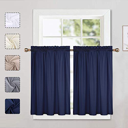 LinTimes Marineblaue Vorhänge, Küchengardinen, Stufenvorhänge, halbes Fenster, kurze Vorhänge für kleine Fenster mit Schlitz oben, 76,2 cm B x 91,4 cm L, Marineblau, 2er-Set