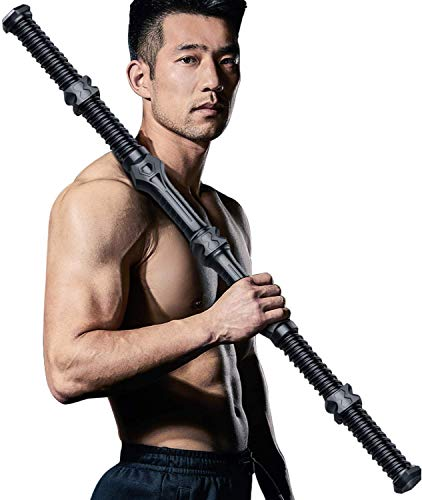 Joeoy 70-180lbs Adjustable Spring Exercise Bar, Upper Body Workout Equipment - Chest Bicep Triceps Blaster, Shoulder Back and Arm Builder, Perfect Home Gym Equipment for Arm Exercise