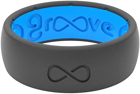 Groove Life - Silicone Ring for Men and for Women Wedding or Engagement Rubber Band with, Breathable Grooves, Comfort Fit, and Durability - Original Solid Deep Stone Grey Size 12