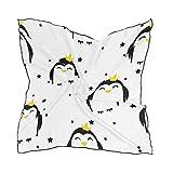 QMIN - Pañuelo cuadrado de seda con diseño de pingüinos y estrellas, para mujer, 60 x 60 cm