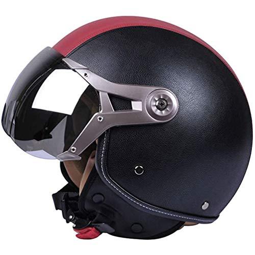 qwert Motorrad halboffener Helm PU Leder offener Gesichtshelm Streetbike Jet Helm...