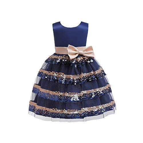 LOKKSI Vestido de encaje sin mangas con bordado de princesa, boda, fiesta de graduación, vestido de cuello redondo para niños con lazo grande, vestido de Navidad para niñas