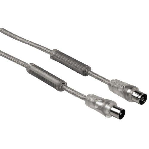Hama Antennenkabel (Koax-Stecker, Koax-Kupplung, 90dB, 3m) transparent/silber [Amazon Frustfreie Verpackung]