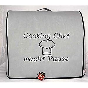 Abdeckhaube für Kenwood, Cooking Chef Gourmet, Cooking Chef macht Pause*, Graphit mit schwarz, Baumwolle, Stickerei