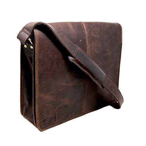 18' Buffalo Leather Messenger Bag Laptop case Office Briefcase Gift for Men Computer Distressed Shoulder Bag
