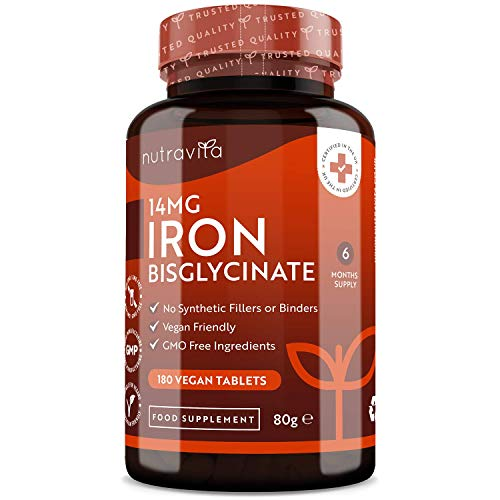 Iron Tablets 14mg – 180 Vegan Tablets (6 Month Supply of Iron Supplements) – Contributes to the Reduction of Tiredness and Fatigue – Suitable for Men and Women – Made in The UK by Nutravita