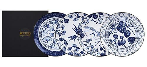 TOKYO design studio Flora Japonica 4-er Teller-Set blau-weiß, Ø 25,7 cm, ca. 3 cm hoch, asiatisches Porzellan, Japanisches Blumen-Design, inkl. Geschenk-Verpackung