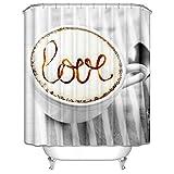 DOLOVE 3D Duschvorhang Waschbar Antischimmel Liebe Cappuccino Duschvorhang 165x180 cm Duschvorhang Waschbar Bunt