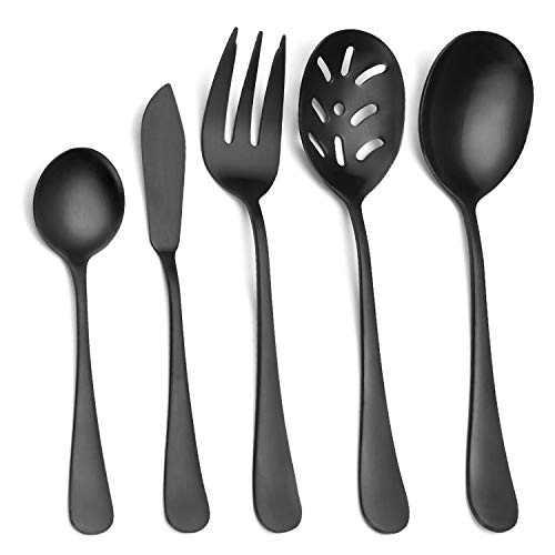 Matte Black Serving Set,SHARECOOK 5-Piece 18/0 Stainless Steel Large Hostess Set with Round Edge, Satin Finished, Dishwasher Safe -Spoons, Forks,Butter Knife& Slotted Spoon