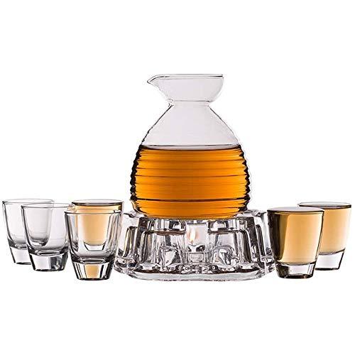 ADSE 8-teiliges Sake-Set, Glass-Sake-Set mit Kerzenherd, einzigartiges Textur-Design für kalten/warmen/heißen Sake/Tee