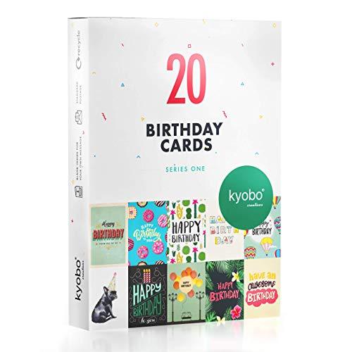 Geburtstagskarten Serie 1 von Kyobo Creations – 20 Stücke Alles Gute zum Geburtstag Grußkarten – Geburtstagskarten Multipack für Männer und Frauen – 10 farbenfrohe Designs
