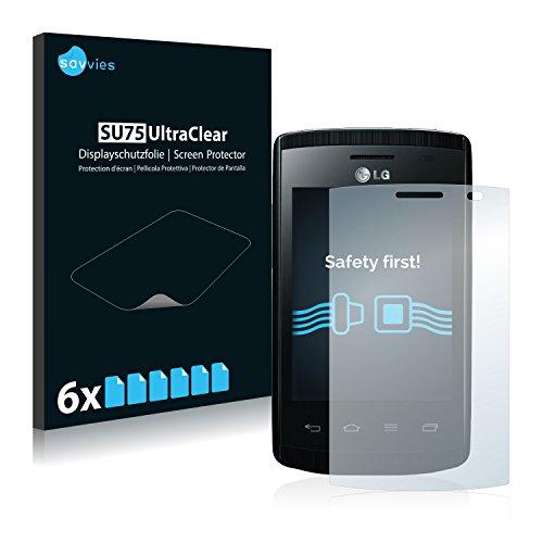 Savvies 6X Schutzfolie kompatibel mit LG Electronics E410i Optimus L1 II Bildschirmschutz-Folie Ultra-transparent