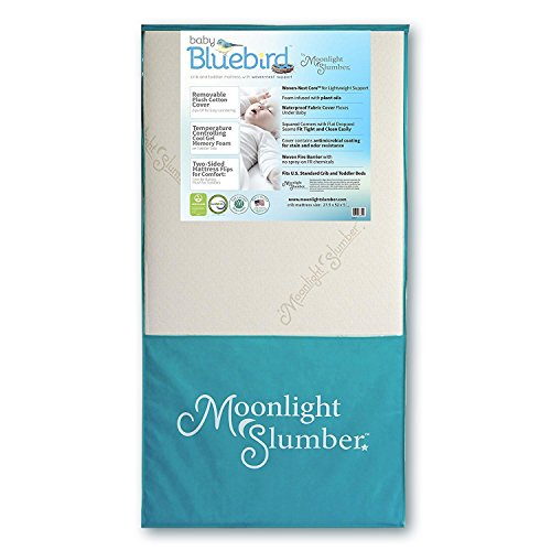 Moonlight Slumber Mattress Combo: Baby Bluebird Dual Firmness, Lightweight, Waterproof Crib Mattress and Toddler Mattress with Cool Gel Memory Foam + Easy Off Premium Cotton Cover