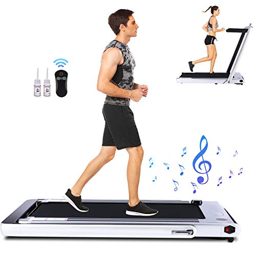FUNMILY 2 in 1 Folding Treadmill, 2.25HP Under Desk Electric Treadmill, Installation-Free, with Bluetooth Speaker, Remote Control and LED Display, Walking Jogging Machine for Home/Office Use (Silver) Treadmills