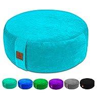 Round Velvet Meditation Pillow, Yoga Bolster, Zafu Buckwheat Meditation Cushion for Sitting on Floor, yoga seat cushion, Floor Pouf, Zippered Premium Cover, Luxury Kneeling Pillow-Large/Small