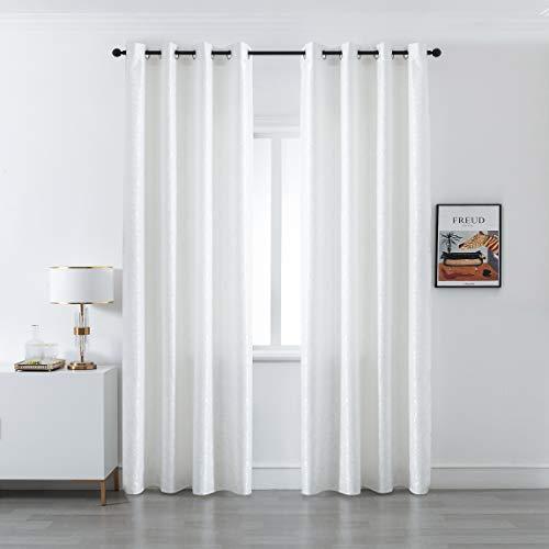GIRASOLE Par de cortinas opacas con diseño de ondas efecto metalizado, cortina aislante para salón, dormitorio, oficina, balcón, puerta y ventana, 2 paneles con ojales (blanco perla, 140 x 280 cm)