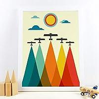 KDSMFAヴィンテージ飛行機プリントミッドセンチュリースタイルボーイズギフトカラフルレインボートラベルプレーンポスターキャンバスペインティングキッズルーム壁の装飾/フレームなし.40x60cm