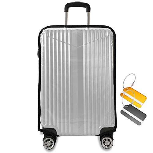 JoyCube Koffer Abdeckungen|PVC Transparent Reisekoffer Hülle|Elastisch Kofferschutzhülle Waschbar Kratzschutz Wiederverwendbar Kofferhülle Gepäck Luggage Cover|mit 2 Kofferanhänger Koffer|22 Zoll