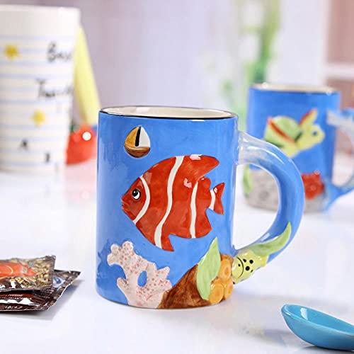 XXJJZON Taza de café de cerámica Fuerte y Duradera, Mango de delfín Lindo de Alto Valor, Taza 3D, Forma Tridimensional, Taza de cerámica con vidriado, Taza de Leche Casual, 301-400ml