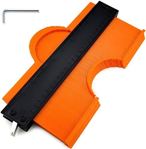 GESPERT 型取りゲージ コンターゲージ セルフロック付き 250mm/10インチ 幅広 高精度 曲線定規 輪郭コピー DIY用測定工具 不規則測定器 ストッパー付 ABS目盛付き 木工 測定ゲージ 測定工具