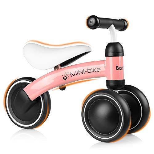 Bamny Bicicletta Senza Pedali per Bambini, Bicicletta Equilibrio Bambini per 10-24 Mesi, Bici per Bambini con 3 Ruote Rosa