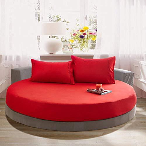 CYYyang Funda de colchón Anti chinches, Transpirable, Funda de Cama Redonda de algodón de Color Liso-Red_Red_1.8m