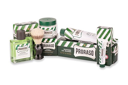 Proraso Shave Kit Rasurset Classic: LUQX Rasierpinsel Proraso Rasiercreme Pre-Shave Cream After Shave Blutstillendes Gel
