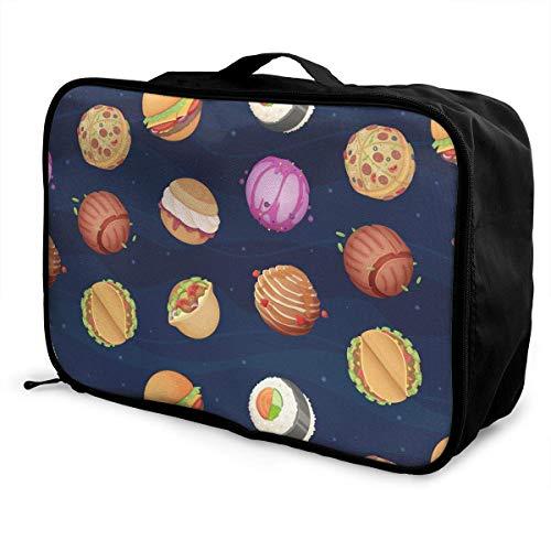 Qurbet Reisetaschen,Reisetasche, Travel Luggage Trolley Bag Portable Lightweight Suitcases Duffle Tote Bag Handbag, Food Planets Pattern