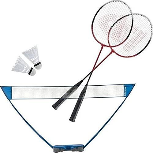 DONNAY Badminton Set mit Badminton Netz, zwei Badmintonschläger und Shuttles - mit Aufbewahrungstasche - Blau