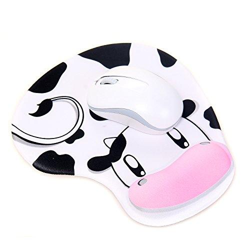 TUKA Mouse pad con comodo supporto in gel per polso, con imbottitura in gel di polso, Tappetino per mouse con poggia polsi imbottito in gel, mucca da latte, TKC5100 dairycow