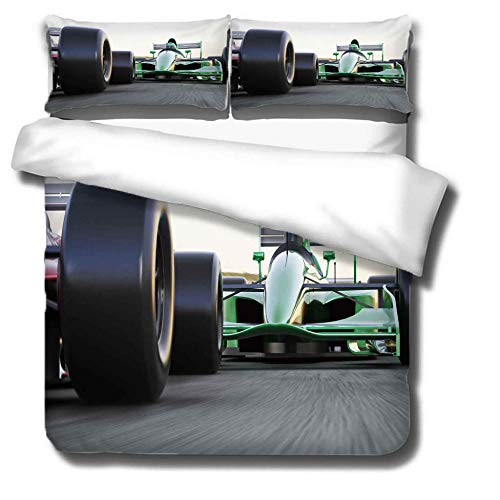 Duvet Cover Set 3 Piece,3D printing Duvet Set Bedding Set for 260 * 240cm Super king Bed with 2 Pillowcases.Adult and child's style: F1 car
