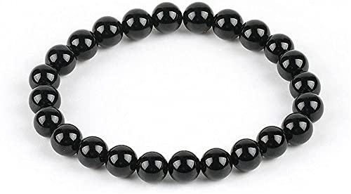 KEEBON Pulsera con Cuentas 8mm Natural Redondo Negro Puro Onyx Agat Gema Strand Strand Space Beads Pulseras Cool Verano Mujer Mano Mano Joyería (Color : B)