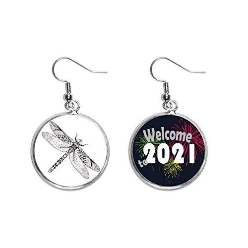 Pendientes de libélula con diseño de retrato de animales para la oreja, 2021 bendición
