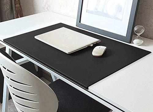 Alfombrilla de escritorio de piel, alfombrilla de escritorio en ángulo, grande, alfombrilla para ratón, protector de mesa, protección impermeable para oficina, antideslizante, 70 x 40 cm, color negro