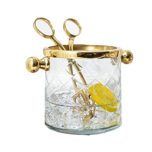 DUTUI Home Bar & Restaurant Wine Bucket, Binaural Fruit Icer, Enfriador de vino de latón, con clip de hielo, práctico y hermoso, 2