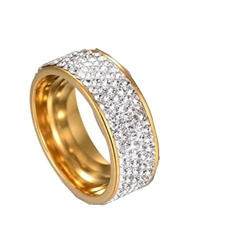 Joyería de acero inoxidable de 8 mm, anillo de joyería de diamantes, anillos para hombres, anillos para mujeres11Gold-color