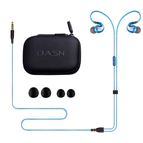 BASN G1 Sports Headphones in-Ear Earphones with Microphone and Remote Control Noise Cancelling Earbuds for iPhone Apple Samsung Android Mi Huawei Oppo VIVO MP3 Player (Blue)