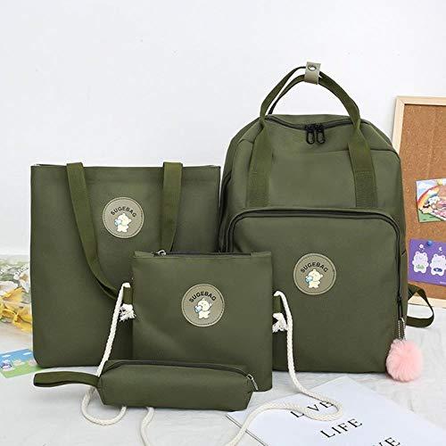 ACIL - Juego de 4 bolsas de escuela secundaria para adolescentes y niñas, lona, mochila de viaje para mujer, bolsa de escuela, color verde oscuro